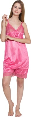 Kismat Fashion Women's Solid Pink Top & Shorts Set