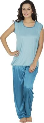 Klamotten Women's Solid Blue Top & Pyjama Set