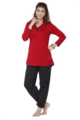 Sweet Night Women's Polka Print Multicolor Top & Pyjama Set