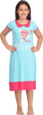 Kanvin Girl's Printed Blue Sleepshirt