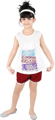 Bella & Brat Girl's Printed White, Brown Top & Shorts Set