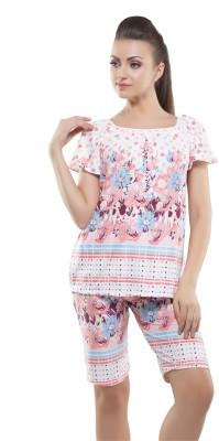 Kunchals With Nightwear Women's Self Design Orange Top & Capri Set
