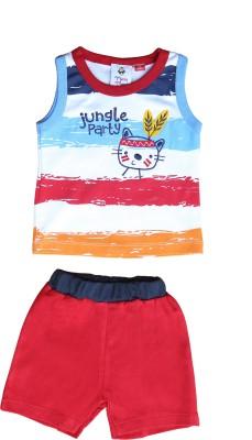 Munna Munni Kids Apparel Baby Boy's Self Design Dark Blue, Light Blue, Maroon, Orange Top & Shorts Set