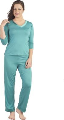 SOIE Women's Solid Dark Green Top & Pyjama Set
