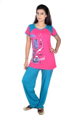 Rosabela Women's Printed Pink Top & Pyjama Set
