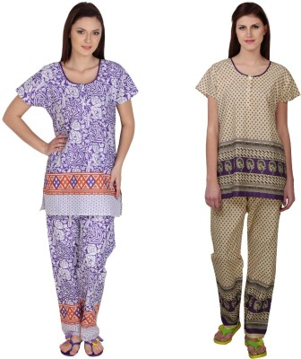 Simrit Women's Printed Purple, Purple Top & Pyjama Set