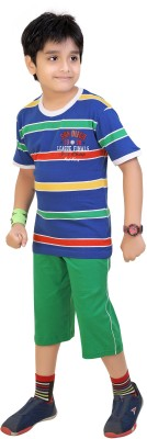 Red Ring Boy's Graphic Print Blue, Red, Yellow, Green, Multicolor T-shirt & Three-forth Set