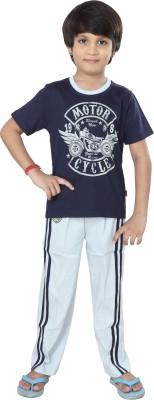 Purple Boy's Graphic Print Blue Top & Pyjama Set