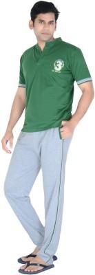 Speed Ball Men's Self Design Green, Grey Top & Pyjama Set