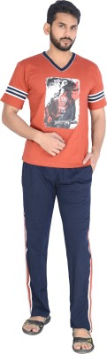 Speed Ball Men's Printed Brown, Blue Top & Pyjama Set