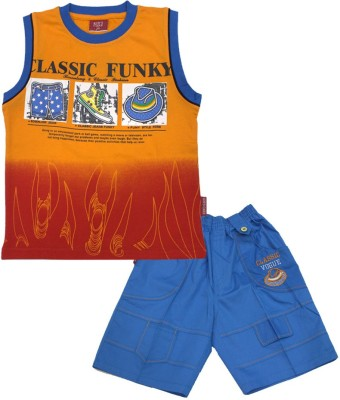 Kids Care Boys Printed Orange Top & Shorts Set