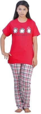 July Cotton Two Piece Women's Printed Red, White Top & Pyjama Set