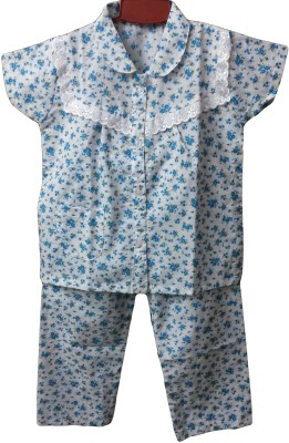 Fusion Fashion Baby Girl's Floral Print White, Blue Top & Pyjama Set