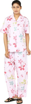 Josilins Spring Women's Printed Pink, Yellow Top & Pyjama Set