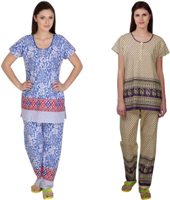 Simrit Women's Printed Blue, Purple Top & Pyjama Set