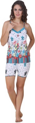 Masha Women's Floral Print Multicolor Top & Shorts Set