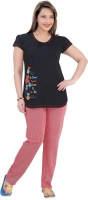 Mint Women,s Striped Black Top & Pyjama Set
