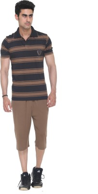 Colors & Blends Capri Suit Mens Striped Brown T-shirt & Three-forth Set