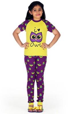 Ventra Girl's Animal Print Light Green, Black, Green, Purple, Yellow Top & Pyjama Set