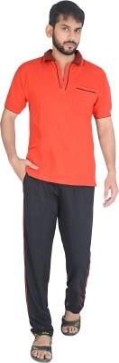 Speed Ball Men's Solid Red, Black Top & Pyjama Set