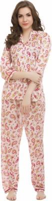 Clovia Women's Printed Pink Top & Pyjama Set