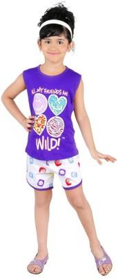 Bella & Brat Girl's Printed Purple, White Top & Shorts Set