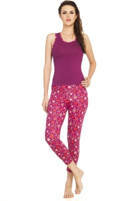 Soie Women's Printed Maroon Top & Pyjama Set at flipkart