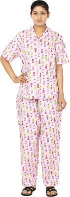 Josilins Japanese Doll Women's Printed Pink, Green Top & Pyjama Set