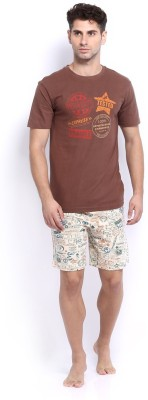 Nuteez Men's Printed Brown Top & Shorts Set