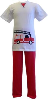 Junior Boxer Boy's Graphic Print Red, White Top & Pyjama Set