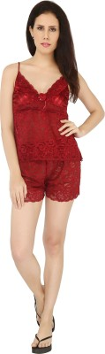 Sweet Heart Women's Self Design Maroon Top & Shorts Set