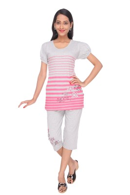 Spicy India Nightsuit Women's Printed Grey Top & Capri Set