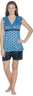 Klamotten Women's Printed Blue Top & Shorts Set