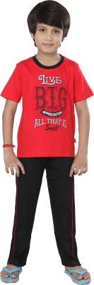 Purple Boy's Graphic Print Red Top & Pyjama Set