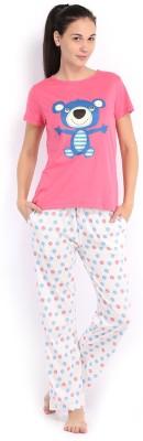July Comfy Cotton Designer Two Piece Women's Printed Pink, White Top & Pyjama Set