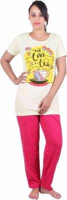 Di Tutti Women's Graphic Print Yellow Top & Pyjama Set