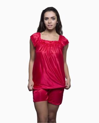Kunchals Women's Solid Red Top & Shorts Set