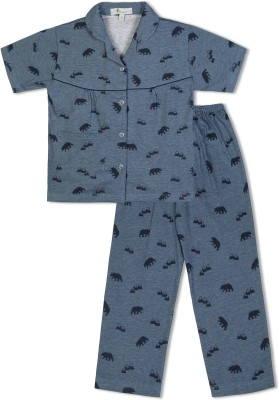 Green Apple Girl's Printed Blue Top & Pyjama Set