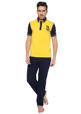 Valentine Men's Solid Yellow Top & Pyjama Set