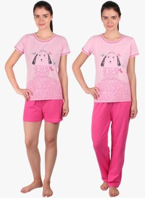 Lazy Dazy Women's Printed Pink Top, Pyjama & Shorts Set