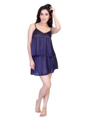 Cruzaar Women's Solid Blue Top & Skirt Set