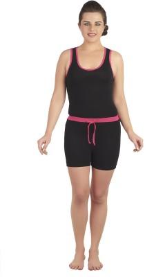 SOIE Women's Solid Black, Pink Top & Shorts Set