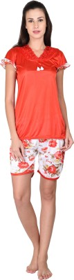Go Glam Women's Floral Print Red Top & Shorts Set