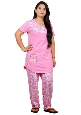 UNO COTTON Women's Printed Pink Top & Pyjama Set