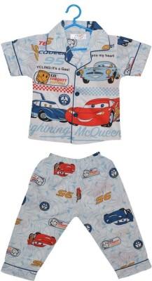 Baby Bucket Baby Boy's Printed Blue Top & Pyjama Set