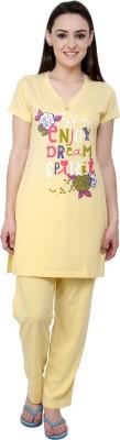 Glasgow Women's Printed Yellow Top & Capri Set
