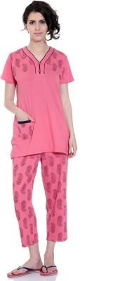 TAB91 Printed Capri & Top Set Women's Printed Pink Top & Capri Set