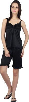 Teleno Women's Solid Black Top & Capri Set