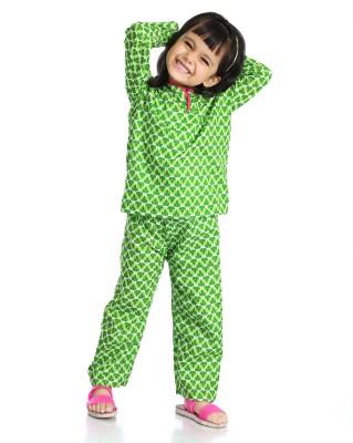 Little pocket store Girl's Printed Green Top & Pyjama Set