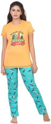 Sunwin Women's Printed Orange, Blue Top & Pyjama Set